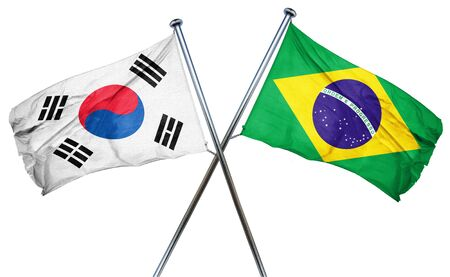 south korea: South korea flag combined with brazil flag
