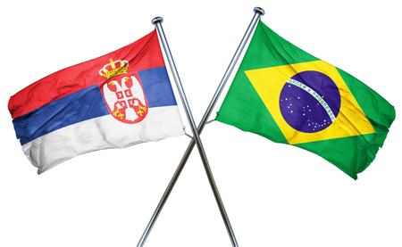serbia flag: Serbia flag combined with brazil flag Stock Photo