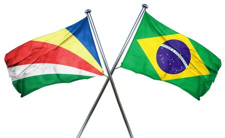 isolation backdrop: seychelles flag combined with brazil flag Stock Photo