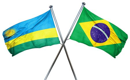 rwanda: Rwanda flag combined with brazil flag Stock Photo