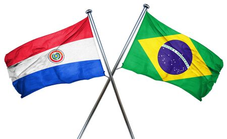 combined: Paraguay flag combined with brazil flag Stock Photo