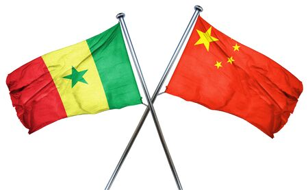 isolation backdrop: Senegal flag combined with china flag Stock Photo