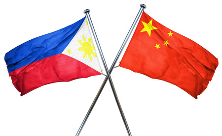 philippino: Philippines flag combined with china flag Stock Photo