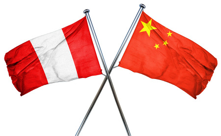 combined: Peru flag combined with china flag Stock Photo