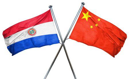 bandera de paraguay: bandera de Paraguay combinada con la bandera de china Foto de archivo