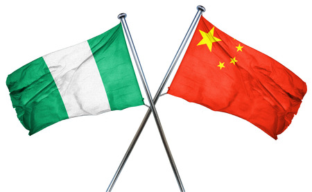 combined: Nigeria flag combined with china flag Stock Photo