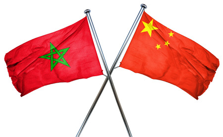 isolation backdrop: Morocco flag combined with china flag