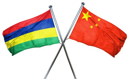 isolation backdrop: Mauritius flag combined with china flag Stock Photo