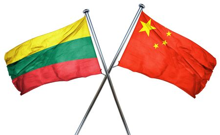 amity: Lithuania flag combined with china flag Stock Photo