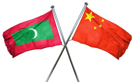 combined: Maldives flag combined with china flag