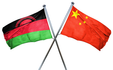 malawi flag: Malawi flag combined with china flag Stock Photo