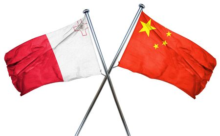 isolation backdrop: Malta flag combined with china flag Stock Photo