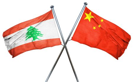 combined: Lebanon flag combined with china flag