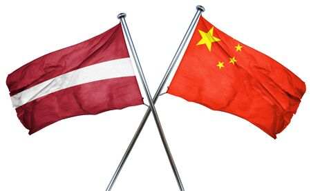 isolation backdrop: Latvia flag combined with china flag