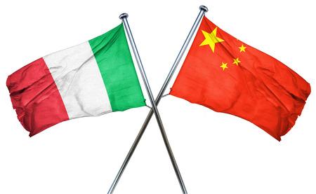 中国の国旗とイタリアの国旗 写真素材