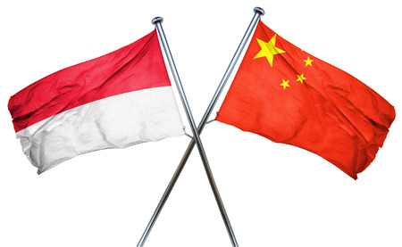 isolation backdrop: Indonesia flag combined with china flag