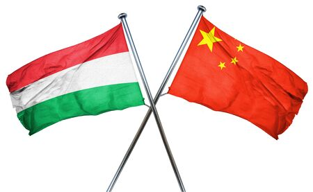 isolation backdrop: Hungary flag combined with china flag
