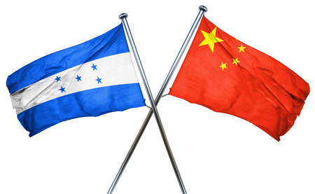 isolation backdrop: Honduras flag combined with china flag Stock Photo