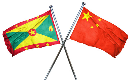 isolation backdrop: Grenada flag combined with china flag Stock Photo