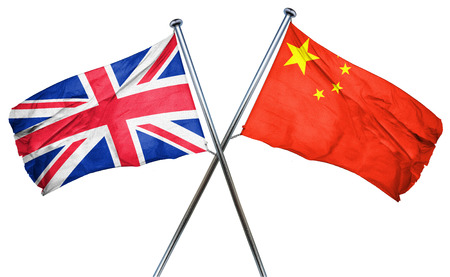 great britain flag: Great britain flag combined with china flag