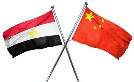 egypt flag: Egypt flag combined with china flag Stock Photo