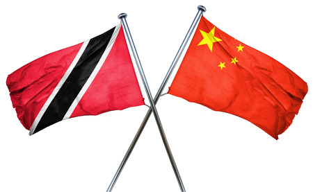 amity: Trinidad and tobago flag combined with china flag Stock Photo