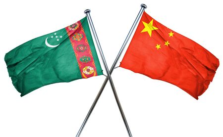 isolation backdrop: Turkmenistan flag combined with china flag Stock Photo