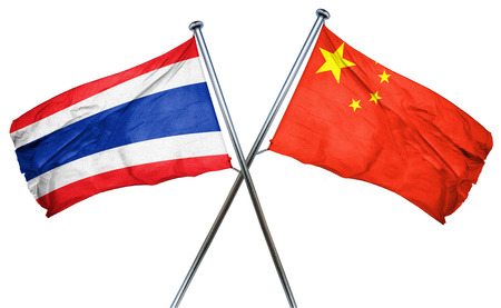 amity: Thailand flag combined with china flag Stock Photo