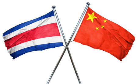 costa rica flag: Costa Rica flag combined with china flag Stock Photo
