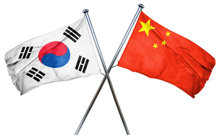 combined: South korea flag combined with china flag