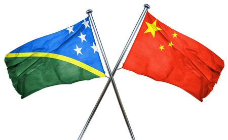 isolation backdrop: Solomon islands flag combined with china flag Stock Photo