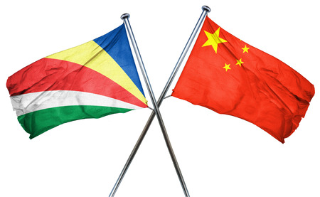 combined: seychelles flag combined with china flag Stock Photo