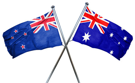 treaty: New zealand flag combined with australian flag Stock Photo