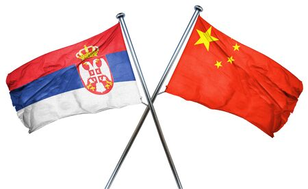 serbia flag: Serbia flag combined with china flag