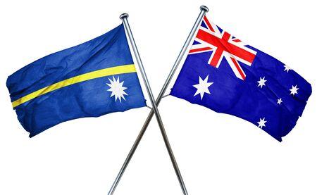 australian culture: Nauru flag combined with australian flag Stock Photo