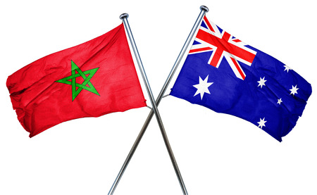combined: Morocco flag combined with australian flag Stock Photo