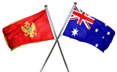 isolation backdrop: Montenegro flag combined with australian flag Stock Photo
