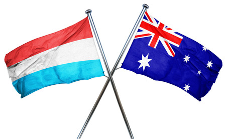 isolation backdrop: Luxembourg flag combined with australian flag Stock Photo