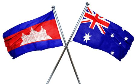 combined: Cambodia flag combined with australian flag Stock Photo