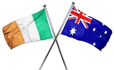 amity: Ireland flag combined with australian flag Stock Photo