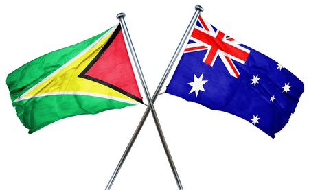 amity: Guyana flag combined with australian flag Stock Photo