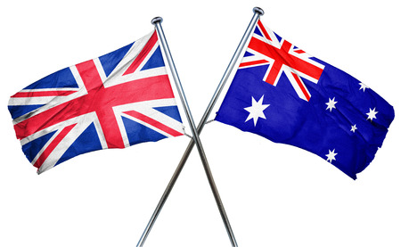 britain: Great britain flag combined with australian flag Stock Photo