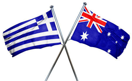 isolation backdrop: Greece flag combined with australian flag