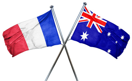 french culture: France flag combined with australian flag Stock Photo