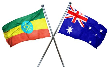 amity: Ethiopia flag combined with australian flag Stock Photo