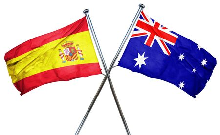 combined: Spanish flag combined with australian flag Stock Photo