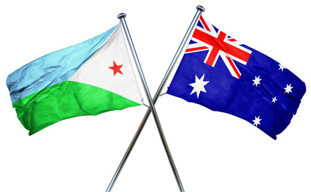 australian flag: Djibouti flag combined with australian flag