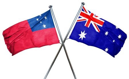 isolation backdrop: Samoa flag combined with australian flag