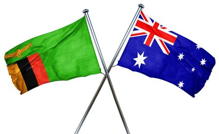 isolation backdrop: Zambia flag combined with australian flag