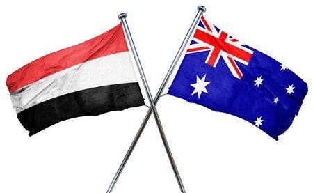 isolation backdrop: Yemen flag combined with australian flag